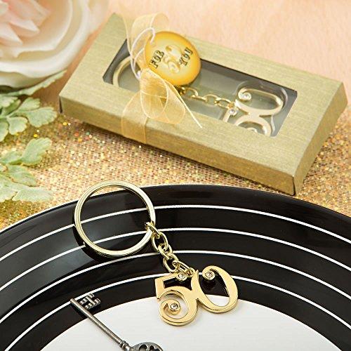 Fashioncraft 50th design gold metal key chain - 50th Keychain Anniversary