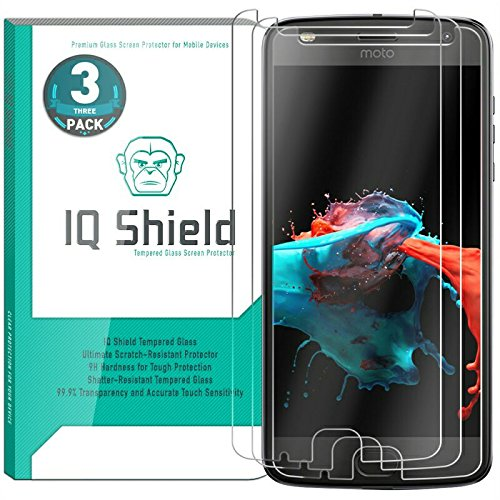 Moto Z2 Play Screen Protector (3-Pack), IQ Shield Tempered Ballistic Glass Screen Protector for Motorola Moto Z2 Play [9H][HD Clear][Anti-Scratch][Bubble-free]