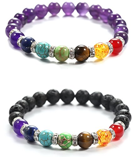 Agate Perfect Round Beads - aSulis Women 8mm Amethyst Lava Rock 7 Chakra Diffuser Bracelet Elastic Natural Stone Yoga Beads Bracelet Bangle (2 Pcs Zircon)
