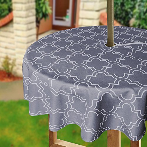 Eforcurtain Geometric White Quatrefoil Print Zipper Tablecloth for Outdoor Use with Umbrella Covered Tables Durable Waterproof Fabric Table Cover, 60 Inch Round, Charcoal