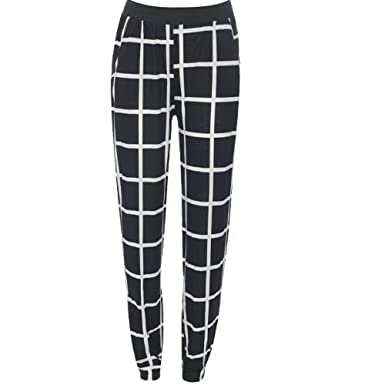 40d6bb87208c92 Online Fashion Store NEW BLACK WHITE MONOCHROME CHECK BAGGY CUFFED HAREM  TROUSERS PANTS 8-14: Amazon.co.uk: Clothing
