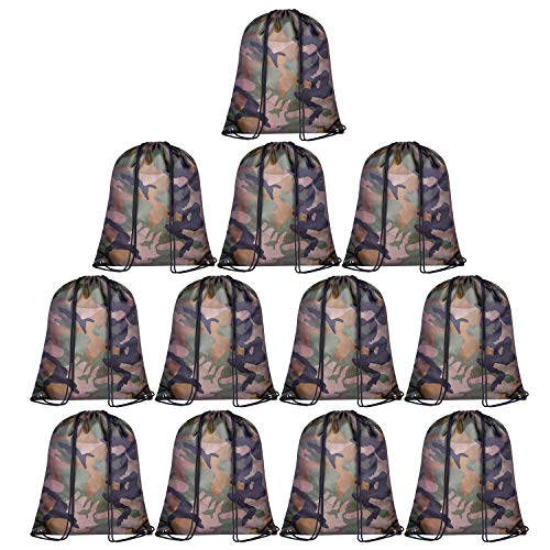 (KUUQA 12 Pack Camouflage Drawstring Backpack Bulk String Backpack Cinch Tote Kids Sport Bags Storage Bags for Gym Traveling (Camouflage))