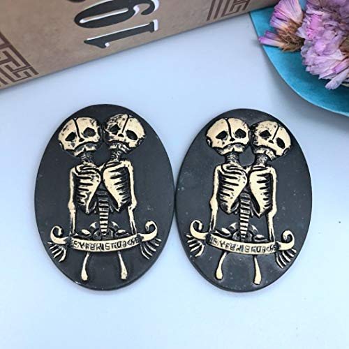 AGONG 10PCS Double Skull Resin Cameo,Resin Flatback Cabochon for Necklace Pendant Jewelry DIY 30X40Mm,Halloween Items