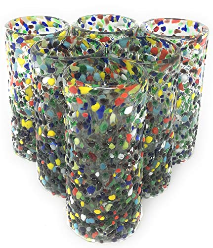 Hand Blown Mexican Tequila Glasses - Set of 6 Confetti Design Tequila Shot Glasses (2 oz each)