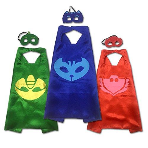 rusero superhéroe PJ máscaras Cape conjuntos Gekko Owlette Catboy disfraz de Halloween para niños rosso: Amazon.es: Hogar
