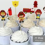 24pcs Fireman Cupcake Toppers Cake Picks Fire Fighters Kids Birthday Party Decoration Baby Shower Party Supplies