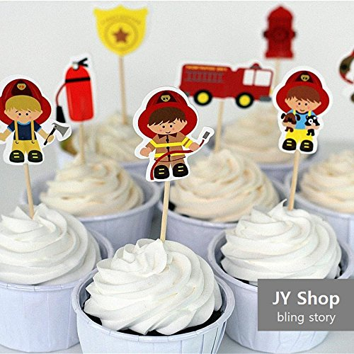 24pcs Fireman Cupcake Toppers Cake Picks Fire Fighters Kids Birthday Party Decoration Baby Shower Party Supplies (Firefighter Decorations Party)