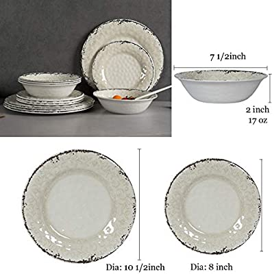 Melamine Dinnerware Set for 4-12pcs Dinnerware Dishes Set for Indoor and Outdoor Use, Dishwasher safe, Unbreakable, Light Grey