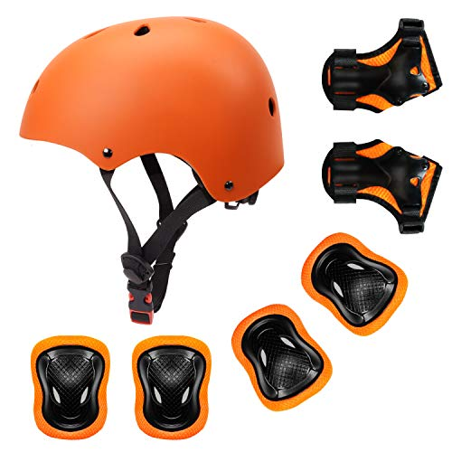 YUFU Kids Helmet Sports Protective Gear Set for 3-8 Years Toddler Boys Girls Bike Skateboard Adjustable Helmet Knee Elbow Wrist Pads for Cycling Skating Roller Scooter Bicycle, Pack of 7 Orange S