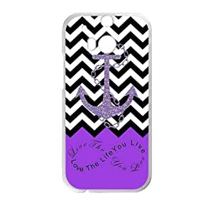 Love The Life You live, Live The Life You Love.Infinity Symbol Black White Chevron Zigzags & Purple Anchor Pattern Personalized Custom HTC One M8 Best Plastic Case