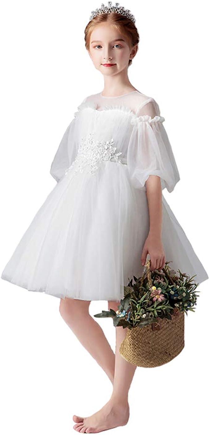 Uioy Disfraz de baile Niña Cumpleaños Blanco Vestido de princesa ...
