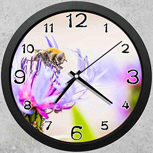 (47BuyZHJX 10-inch Round Decorative Wall Clock (Black),Backdrop Pattern - Flower Close Up,Pink and Blue Petals,Bee,Home School Office Wall Clock.)