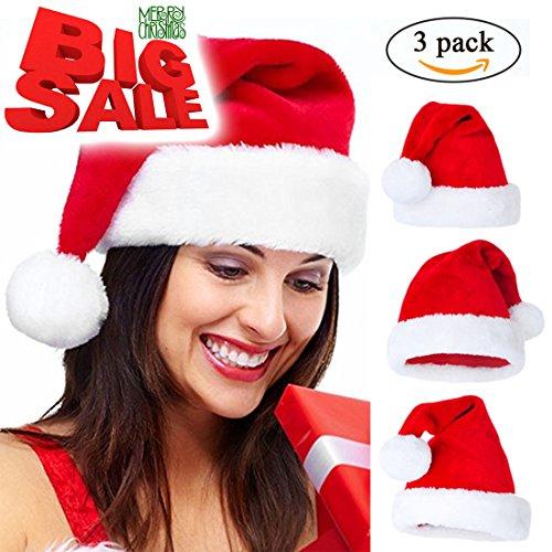 Santa Hat Adult Costumes (Velvet Santa Hat For Adult 3 Pieces Santa Claus Hat Costume Funny Party Hats Santa Costume)