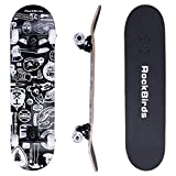"RockBirds Skateboards, 31"" Pro Complete Skateboard, 7 Layer Canadian Maple Skateboard Deck for Extreme Sports and Outdoors"