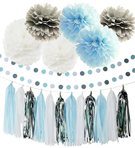 First Birthday Boy Decorations Baby Blue White Grey Baby Boy First Birthday Party Decorations Tissue Paper Pom Pom Tassel Garland Circle Garland for Elephant Baby Shower Decorations Boy - Blue Garland Dessert