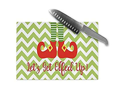 Let's Get Elfed Up Glass Cutting Board - Holiday Elf Cutting Board Christmas Party Hostess Gift Glass Chopping Board Kitchen Decor