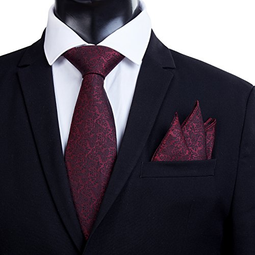 [Black Friday Offer]100% Silk Ties Necktie Set for Men Handmade Tie and Pocket Square Set with Gift Box by WITZROYS, Burgundy #Hs17, Large from WITZROYS