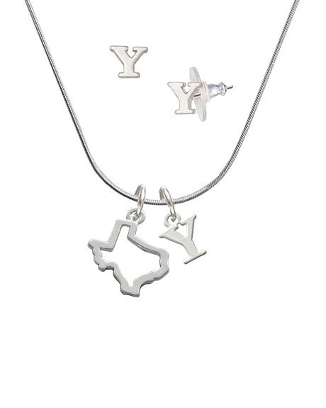 Texas esquema - y inicial encanto collar y pendientes joyería Set: Amazon.es: Joyería
