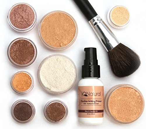 iQ Natural Mineral Makeup Starter Kit – Powder Brush, Silk Primer, Mineral Foundation, Setting Veil, Bisque Concealer, Bronzer + Eye Shadow for Flawless Bare Looking Skin, Full Set (Bare Silk Mineral Makeup)