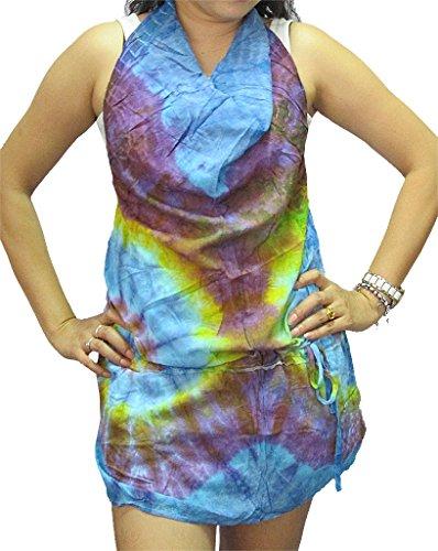 Women's Tie Dye Open-back Drop-waist Rayon Top - T0252 - Drop Waist Peasant Top