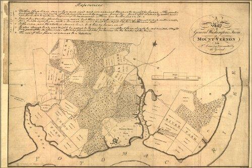 16x24 Poster; Map Of George Washington Farm Mount Vernon 1801