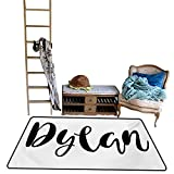 scenine Home Rugs Dylan,Monochrome Arrangement of Letters Stylized Font Design Hand Drawn Typography,Black and White.jpg 55' 63' Outdoor Rugs for patios