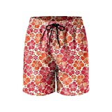 Hardy Hibiscus Flowers Mens Quick Dry Lightweight Beach Shorts with Drawstring