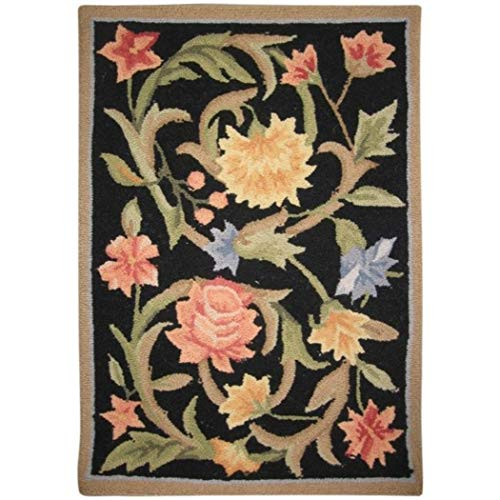 1'8 x 2'6 Handmade Floral Garden Scrolls Black Wool Area Rug, Sophisticated Ultra Plush Natural Tone Contemporary Country Flower Solid Border, Rectangular Indoor Kitchen Living Room Accent Carpet - Garden Scroll Floral Rug