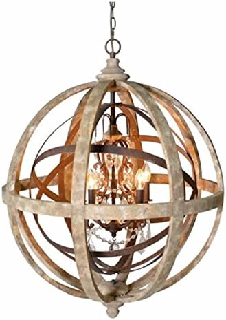 Retro Crystal Wood Iron Lamp Globe Chandelier Office Parlor Pendant Bar Lights