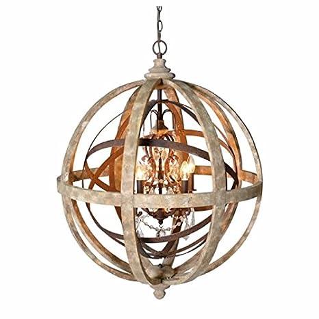 Wonderful Orlando Globe Orb Sphere Chandelier Wood Metal Frame Crystal  DK78