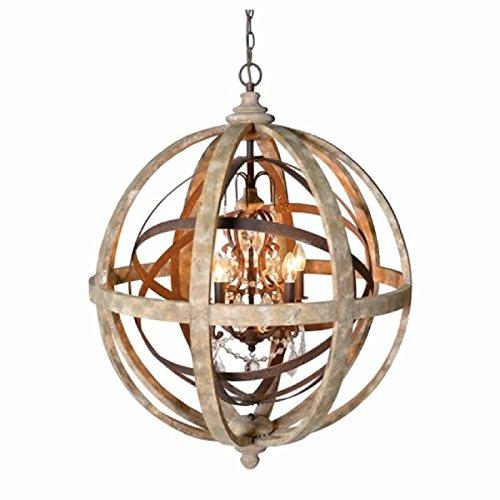 - Orlando Globe Orb Sphere Chandelier Wood Metal Frame Crystal Pendant Lamp Lustre