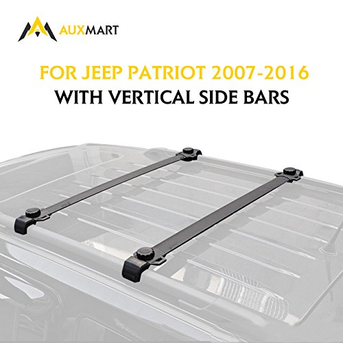 AUXMART Roof Rack Cross Bars Fit for Jeep Patriot 2007 2008 2009 2010 2011 2012 2013 2014 2015 2016 with Vertical Side Bars – 132LBS/60KG Capacity …
