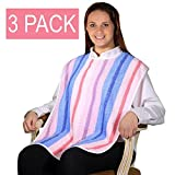 3 Pack - Clothing Protector Terry Cloth Senior Adult Bibs w/Velcro Closure. Meal Time Senior Bib.