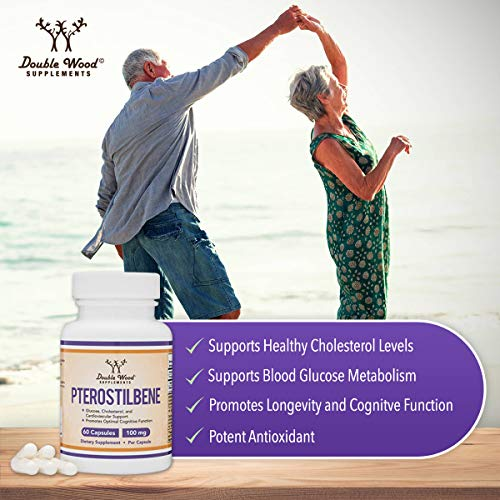 51b%2BTGftRpL - Pterostilbene 100mg Capsules (Third Party Tested) Made in The USA, 60 Capsules, Superior to Resveratrol (Antioxidant, Anti Aging Support Supplement) by Double Wood Supplements