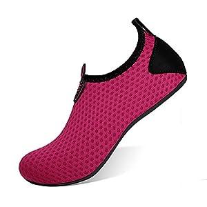 HEETA Barefoot Water Sports Shoes for Women Men Quick Dry Aqua Socks for Beach Pool Swim Yoga Dot_Purple M