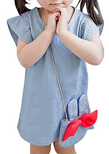 Fairy's Girls' Light Blue Jean Flap Ruffled Sleeve Dress & Minnie Mouse Bag Set, 1 9-12 Months (Period Dress)