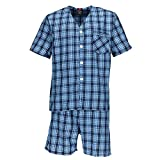 Hanes Men's Short Sleeve Short Leg Pajama Set, XL, Blue Plaid