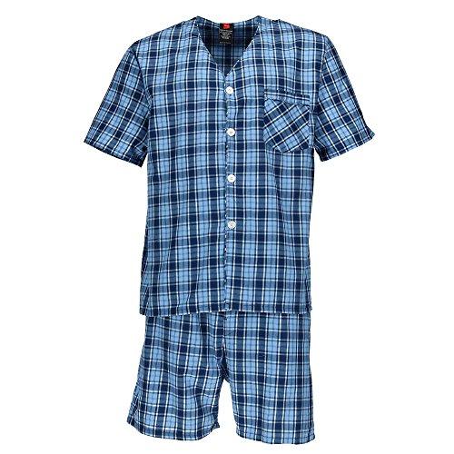 Hanes Men's Short Sleeve Short Leg Pajama Set, XL, Blue Plaid by Hanes
