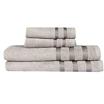 Touz 4pcs Bath Collection: 2pcs Beach Towel+2pcs Hand Towel,ultra Soft Bamboo, Absorbs Moisture (Light Grey)