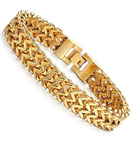 Fashion Jewelry Gold Plated Stainless Steel Double Strand Link Chain Clasp Bracelet for Men Punk Biker Bracelet