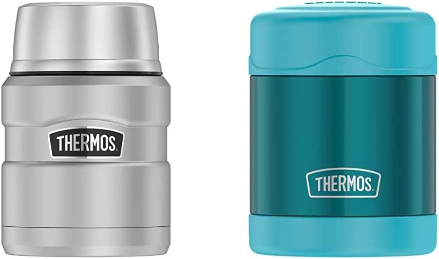 Thermos Stainless King 16 Ounce Food Jar with Folding Spoon, Stainless Steel & Funtainer 10 Ounce Food Jar, Teal