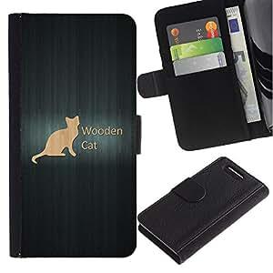 KingStore / Leather Etui en cuir / Sony Xperia Z1 Compact D5503 / Gato de madera