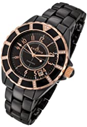 Rougois Women's High Tech Black Ceramic Watch with Rose Gold Trim and 36 Genuine Diamonds