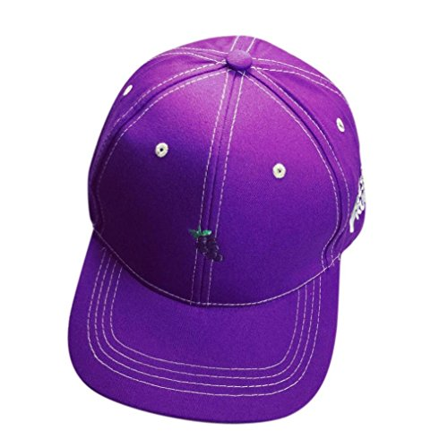 OutTop Fruit Embroidery Cotton Baseball Cap Boys Girls Snapback Hip Hop Flat Hat, Purple, Strap - Purple Aesthetic