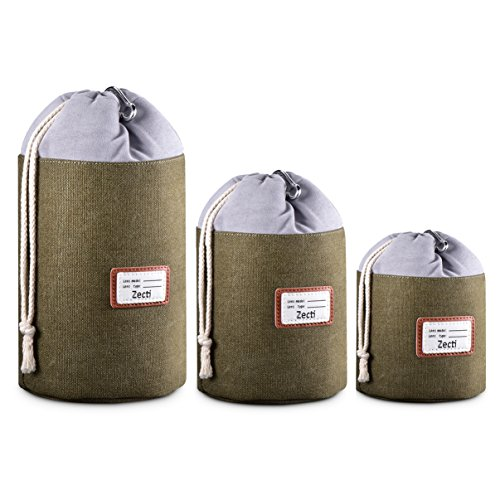 Zecti Thick Protective Lens Pouches Set for DSLR Camera Lens with Water Resistant Canvas Material, Lens Cases for Canon Nikon Sony Olympus Panasonic (3 Pack)