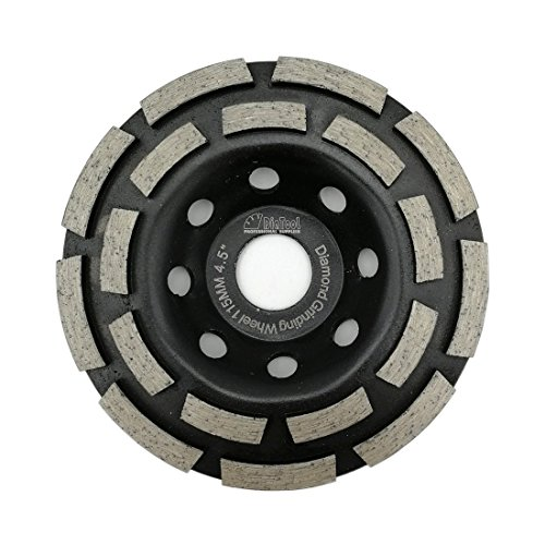 DIATOOL Diamond Double Row Grinding Cup Wheel for concrete Masonry Granite marble Diamond Grinding Wheel(4-1/2 Inch Double Row)