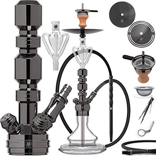 DILAW® TRIPHAN Shisha Edelstahl Black V2A 44cm Small Hookah + Butterfly Kohleteller | Wasserpfeife Mini | to go…