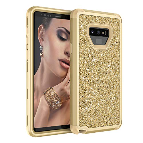 Galaxy Note 9 Case, UZER Three Layer Shockproof Luxury Glitter Sparkle Bling Diamond Hard PC Soft Silicone Combo Hybrid Impact Defender Full-Body Protective Case Cover for Galaxy Note 9 (2018) (Verus Case Note 3 Card)