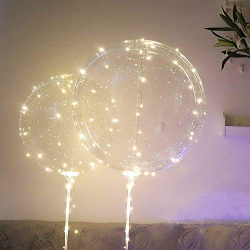 Samoii LED Light Up Balloons, Latex Clear Transparent Round Bubble Colorful Flash String Decorations Wedding Room Courtyard Kids Birthday Party Set Glow Christmas Decor