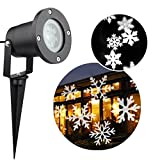 Christmas Light Projector Outdoor,DeerReed Halloween Snowflake Decorations for Landscape Patio Garden Holiday Light Decoration